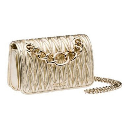 Miu Miu Womens Pattina Small Metallic Gold Cross Body Shoulder Bag