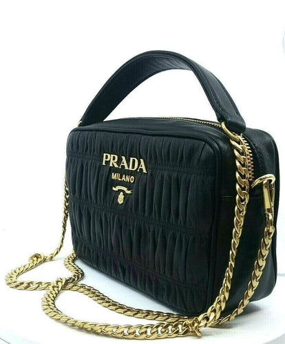 Prada Bandoliera Nero Black Nappa Gaufre'1 Quilted Leather Handbag