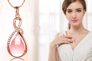Natural Water Drop Colorful Pearl Crystal Pendants with Rose Gold Silver Necklace Fine Jewelry