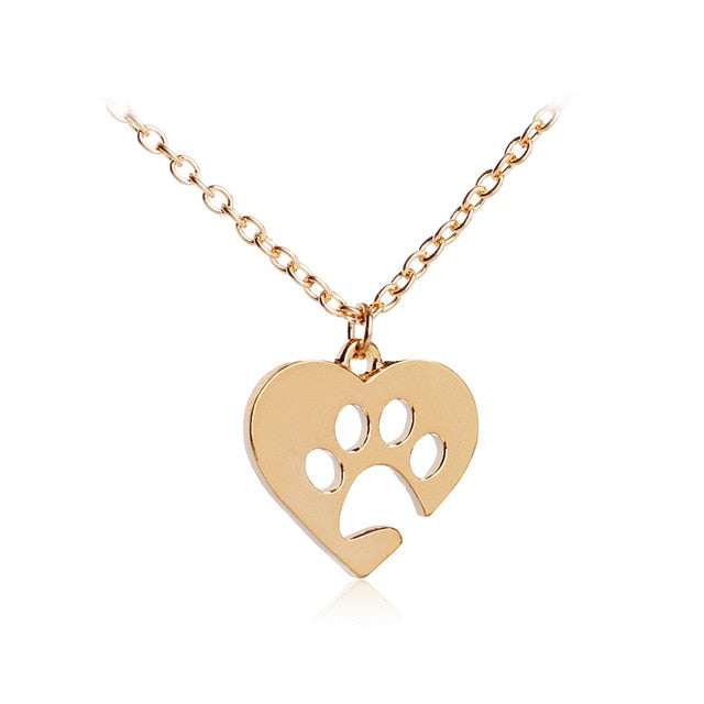 Women Heart Dog Paw Pendant Dog Lover Gold Necklace