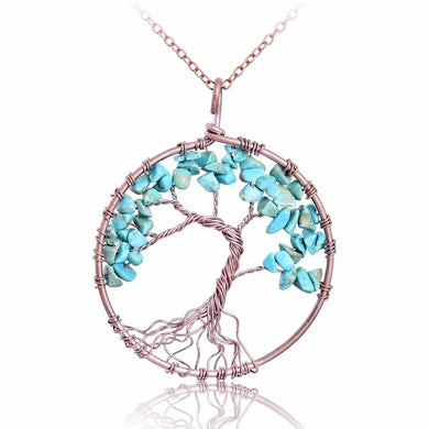 SEDmart Tree Of Life Pendant Amethyst Rose Crystal Necklace Gemstone Jewelry