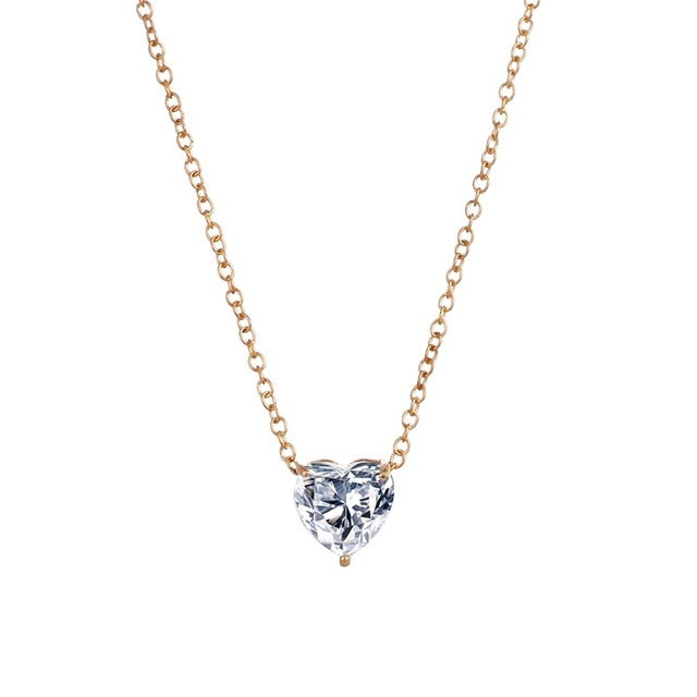 Crystal Heart Necklace Pendant Female Short Gold Chain Gold Silver Necklace Chain