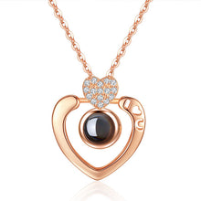 Load image into Gallery viewer, Romantic Love Memory Necklace Double Heart 100 languages I Love You Projection Pendant Necklace Zircon Jewelry