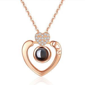 Romantic Love Memory Necklace Double Heart 100 languages I Love You Projection Pendant Necklace Zircon Jewelry