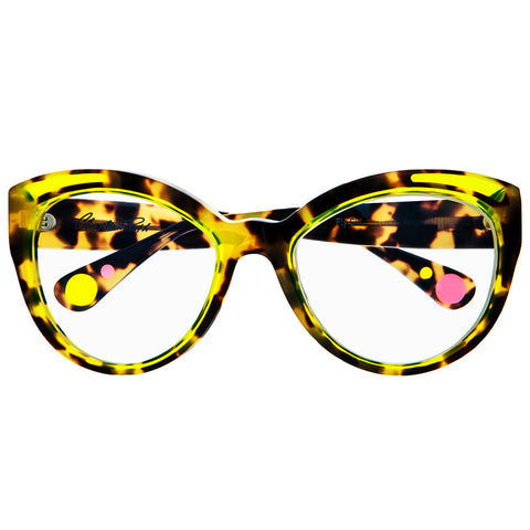 Christian Roth Optical Eyeglasses - 2015 - Fly Girl - in Tortoise with neon yellow inserts, pink and neon yellow mismatched polka dots