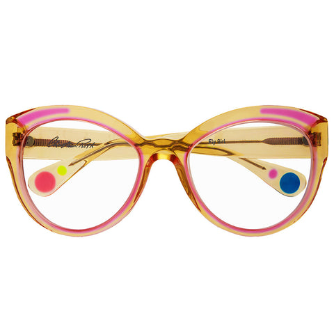 Christian Roth Optical Eyeglasses - 2015 - Fly Girl - in Camel Crystal with pink inserts, green, blue and pink mismatched polka dots