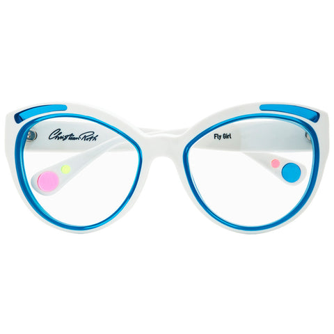 Christian Roth Optical Eyeglasses Fly Girl in Pure White with caraibic blue inserts and blue, pink and neon green mismatched polka dots