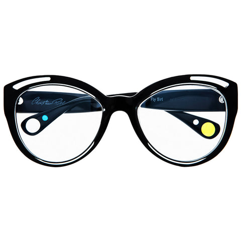 Christian Roth Optical Eyeglasses Fly Girl in Black with crystal inserts and yellow, blue and clear polka dots
