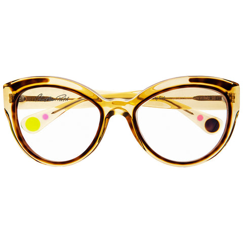 Christian Roth Optical Eyeglasses Fly Girl in Camel Crystal with havanna inserts and havanna, pink and neon green mismatched polka dots