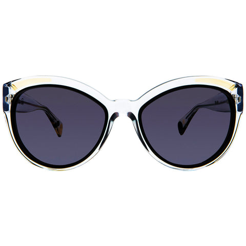 Christian Roth Sunglasses - Fly Girl - in crystal clear with black and beige inserts and mismatched polka dots front