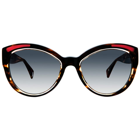 Christian Roth Sunglasses - Fly Girl - in Brown Marble with crystal and red inserts and mismatched polka dots front open