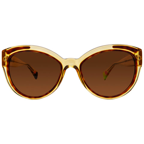 Christian Roth Sunglasses - Fly Girl - in Camel Crystal with havanna inserts and havanna, pink and neon green mismatched polka dots front