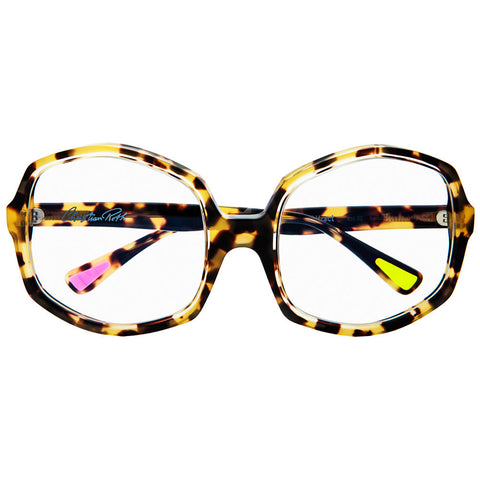 Christian Roth Optical Eyeglasses Opposites Attract in Tortoise with clear, pink and neon green mismatched inserts