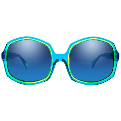 Christian Roth Sunglasses - Opposites Attract - in Caraibic Blue with neon yellow and pink mismatched inserts front