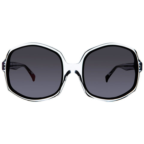 Christian Roth Sunglasses - Opposites Attract - in Crystal Clear with black and red mismatched inserts front