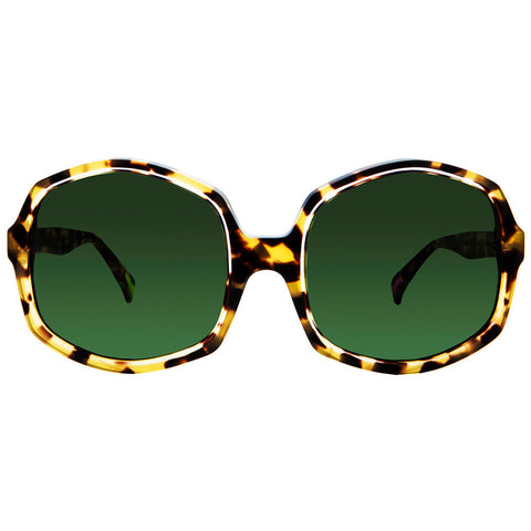 Christian Roth Sunglasses - Opposites Attract - in Tortoise with clear, pink and neon green mismatched inserts front
