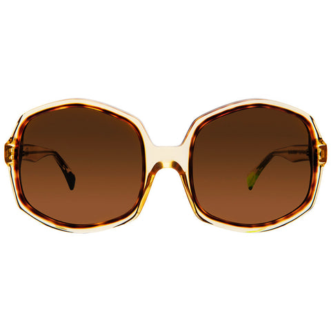 Christian Roth Sunglasses - Opposites Attract - in Camel Crystal with havana and neon green mismatched inserts front