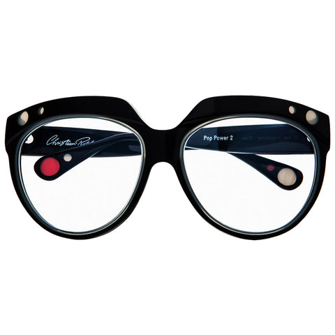 Christian Roth Optical Eyeglasses Pop Power 2 in Black with ivory beige and red polka dots