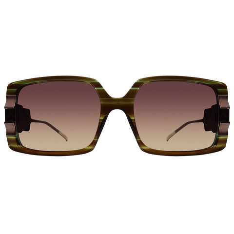 Christian Roth Sunglasses - C'hic-Hop Sleek - in tiger tortoise on turquoise transparent