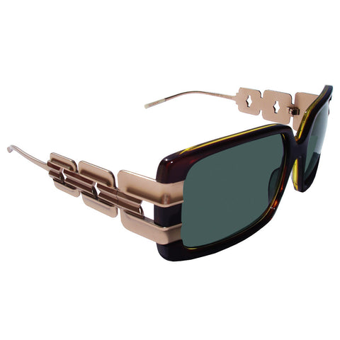 Christian Roth Sunglasses - C'hic-Hop Sleek - in dark amber with gold sides