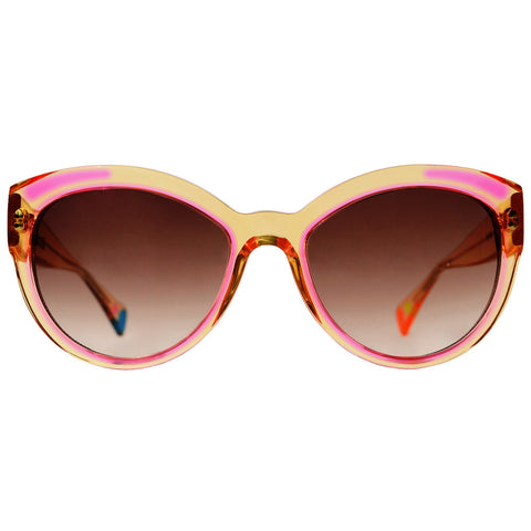 Christian Roth Sunglasses - Fly Girl - in Camel Crystal with pink inserts, green, blue and pink polka dots front open