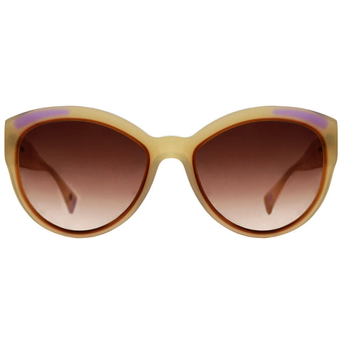Christian Roth Sunglasses - Fly Girl - in Ivory Beige with brown and lavender inserts and mismatched polka dots front