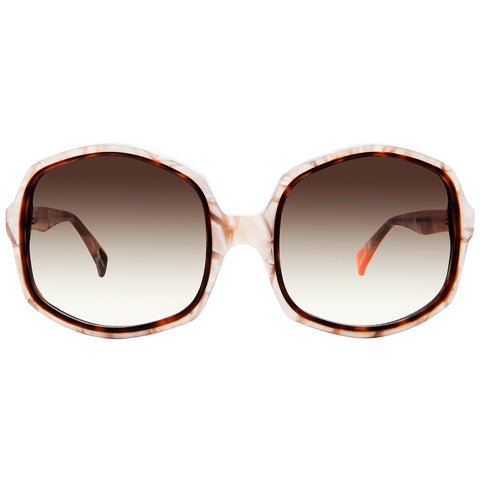 Christian Roth Sunglasses - 2015 - Opposites Attract - in Rose Pearls with havana and neon orange mismatched inserts