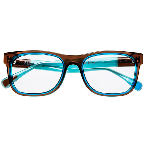 Christian Roth Optical Eyeglasses - 2015 - C for Carlos - in hazel brown with dusk blue inserts and tahiti blue touch