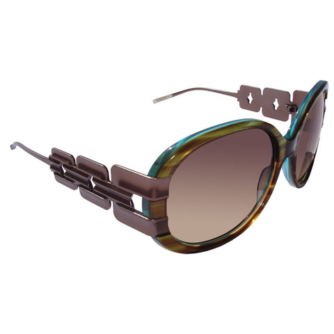 Christian Roth Sunglasses - Belles of Embellishments - in tiger tortoise on turquoise transparent right side
