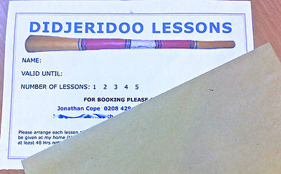 DIDGERIDOO LESSONS - LONDON - ALL LEVELS. PROFESSIONAL TEACHER. Voucher - Sound For Health