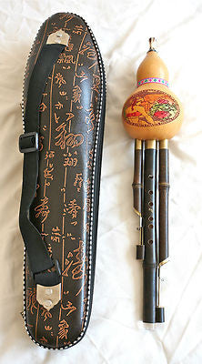 Chinese Gourd flute (Hulusi) in case, wonderful sound. 2 drones. - Sound For Health  - 1