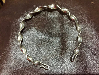 Celtic Iron Age - twisted neck Torc. Solid sterling silver.
