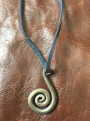 Hand-forged necklace - curled pendant