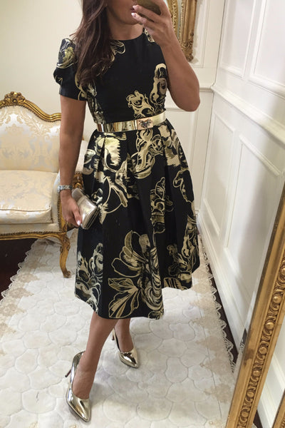 Diane Black and Gold Print Fit and Flare Dress - LadyVB   s.r.o - 2