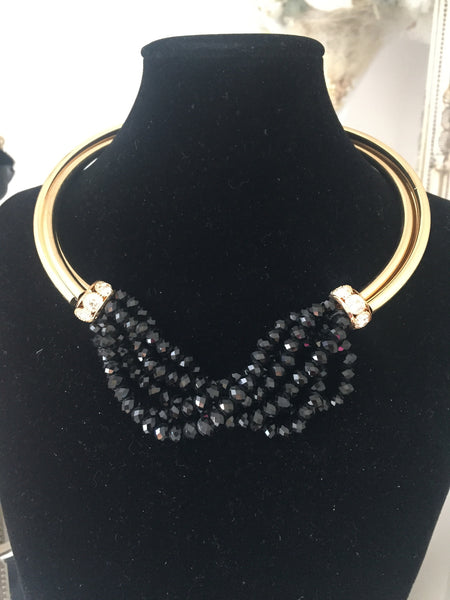 Francine Black and Gold Torc Necklace with Gold Ball Drop Earrings - LadyVB   s.r.o - 1