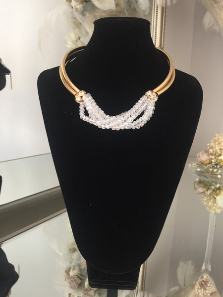 Francine White and Gold Torc Necklace with Gold Ball Drop Earrings - LadyVB   s.r.o - 1