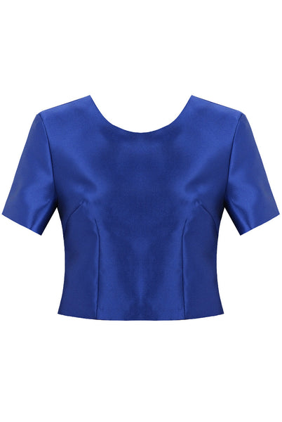 Blue Gold Back Zip Up Short Sleeve Top - LadyVB   s.r.o - 1
