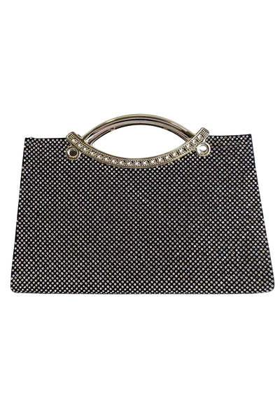 Black Diamante Large Clutch Bag with Handle - LadyVB   s.r.o - 1