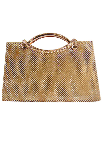 Gold Diamante Large Clutch Bag with Handle - LadyVB   s.r.o - 1