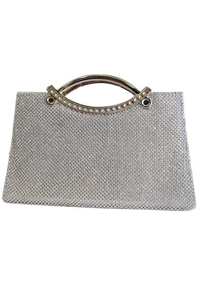 Silver Diamante Large Clutch Bag with Handle - LadyVB   s.r.o - 1