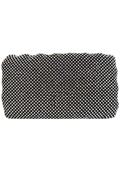 Black Diamante Ribbed Clutch Bag - LadyVB   s.r.o - 1