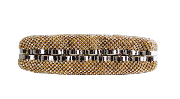 Gold Diamante Ribbed Clutch Bag - LadyVB   s.r.o - 2