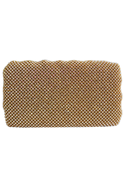 Gold Diamante Ribbed Clutch Bag - LadyVB   s.r.o - 1
