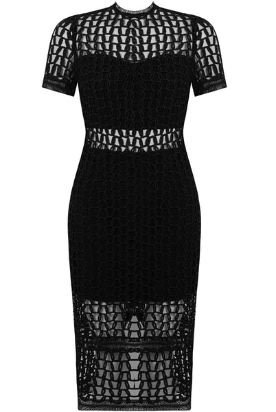 Netted Lace Black Dress - LadyVB   s.r.o - 3