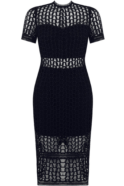 Netted Lace Navy Dress - LadyVB   s.r.o - 3