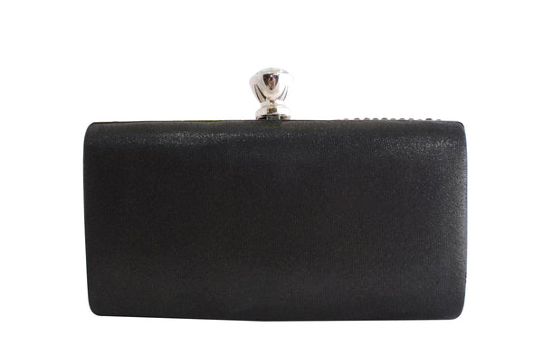 Black Bead Clutch Bag with Diamante Clasp - LadyVB   s.r.o - 2