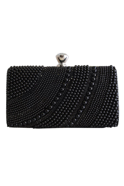 Black Bead Clutch Bag with Diamante Clasp - LadyVB   s.r.o - 1