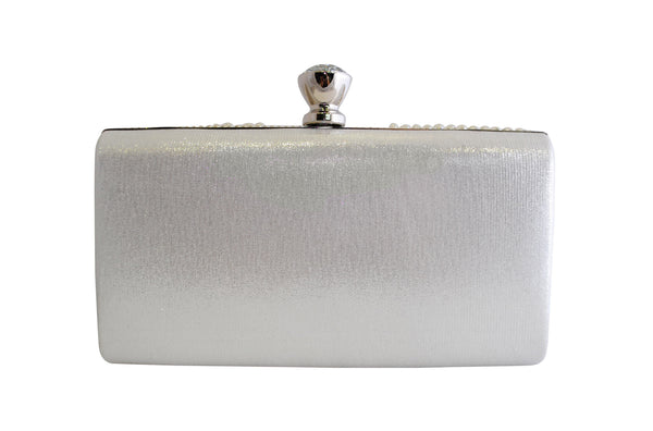 White and Silver Pearl and Diamante Clutch Bag with Diamante Clasp - LadyVB   s.r.o - 2