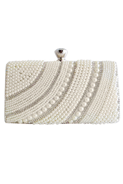 White and Silver Pearl and Diamante Clutch Bag with Diamante Clasp - LadyVB   s.r.o - 1