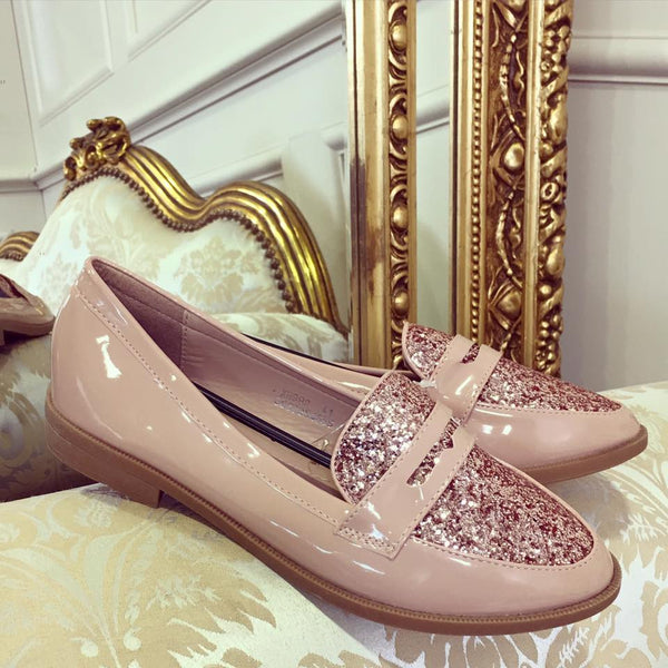 Nuala Nude with Rose Gold Shimmer Detail Loafer - LadyVB   s.r.o - 2